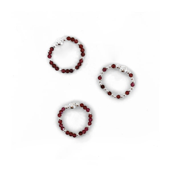 Image of Sterling Silver & Garnet Bead Ring