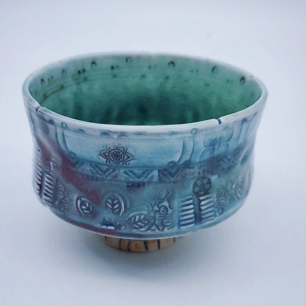 Image of Aquamarine Mandala Star Porcelain Tea Bowl