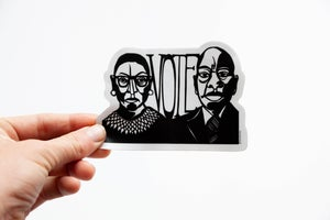 Image of Ruth Bader Ginsburg + John Lewis Vote Sticker
