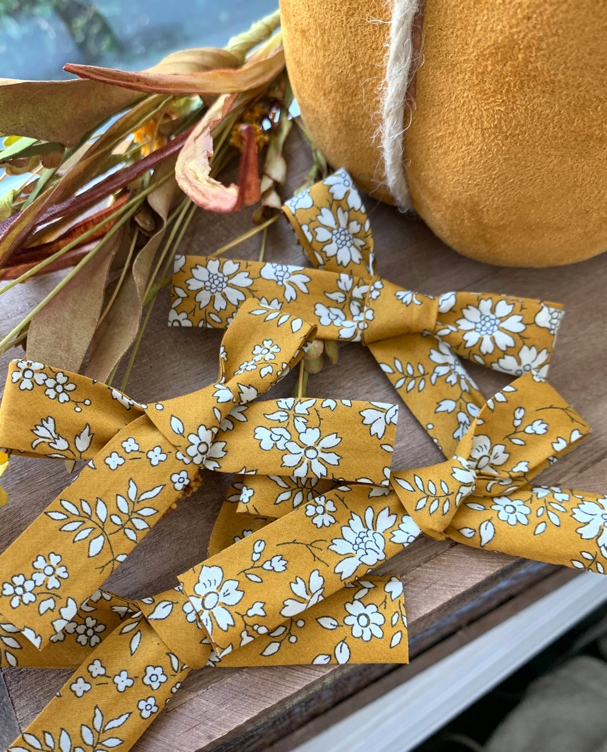 Image of Mustard Floral Tie Bow
