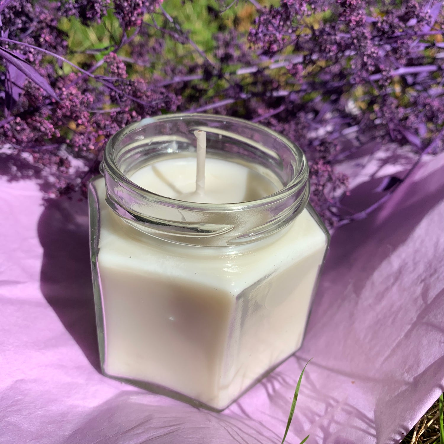 Unscented 4 oz Hexagon Candle