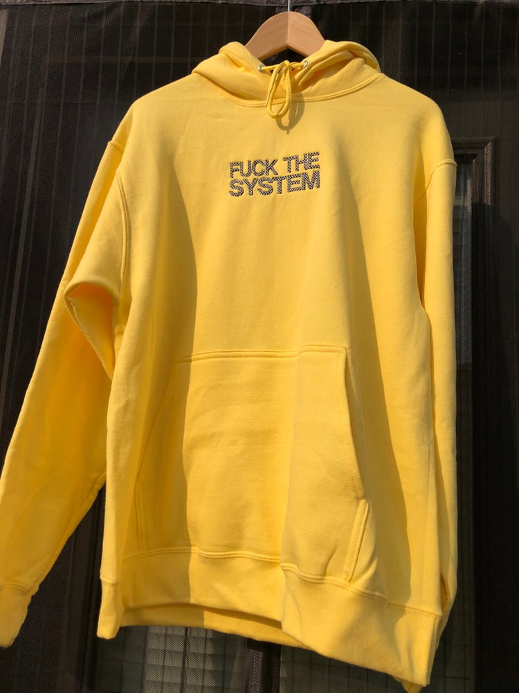 Image of YELLOW FUCK THE SYSTEM HOODIE