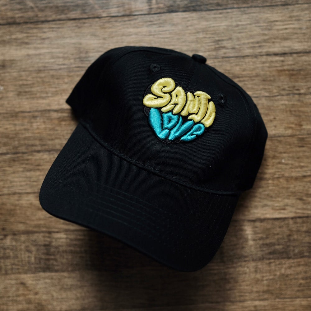 Kid's SanJo Love in yellow and teal on black