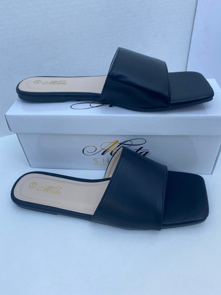 Image of Black faux leather slides