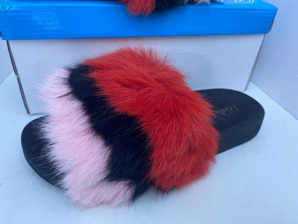 Image of Red/Blk/Pink furry slide on