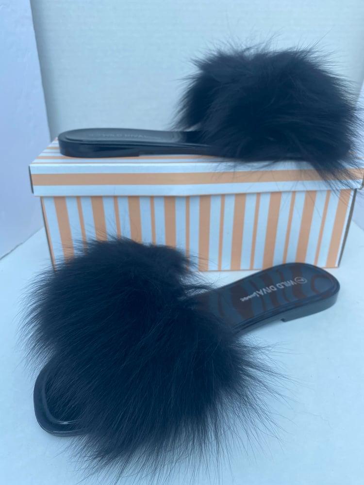 Image of Black Fur jelly slide-on