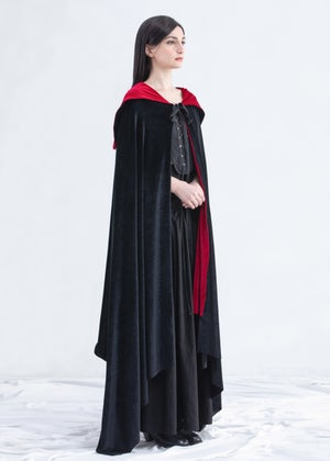 Image of Reversible Velvet Long Draped Cape & Dress