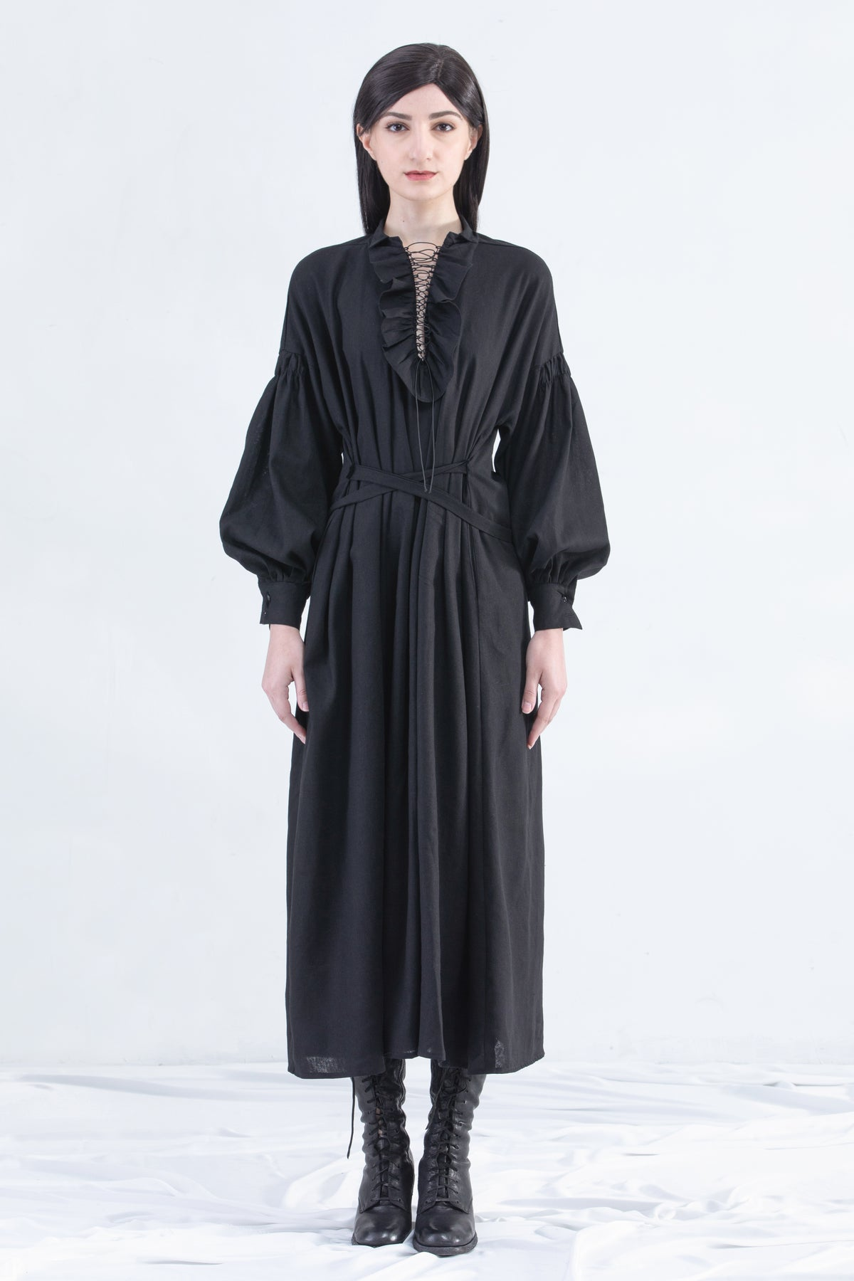 Image of Vinnie Ruffle Maxi Dress With Strap