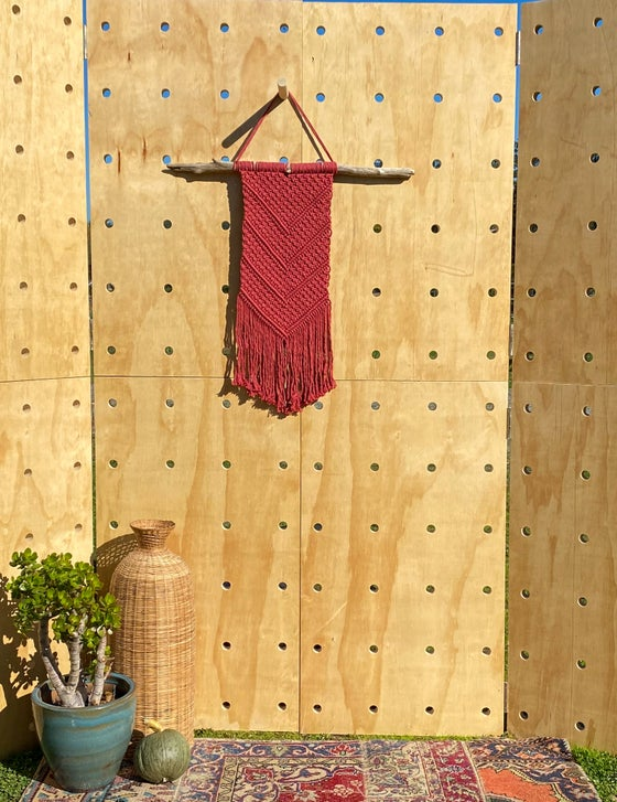 Image of Large Burnt Red Macramé Wall hanging