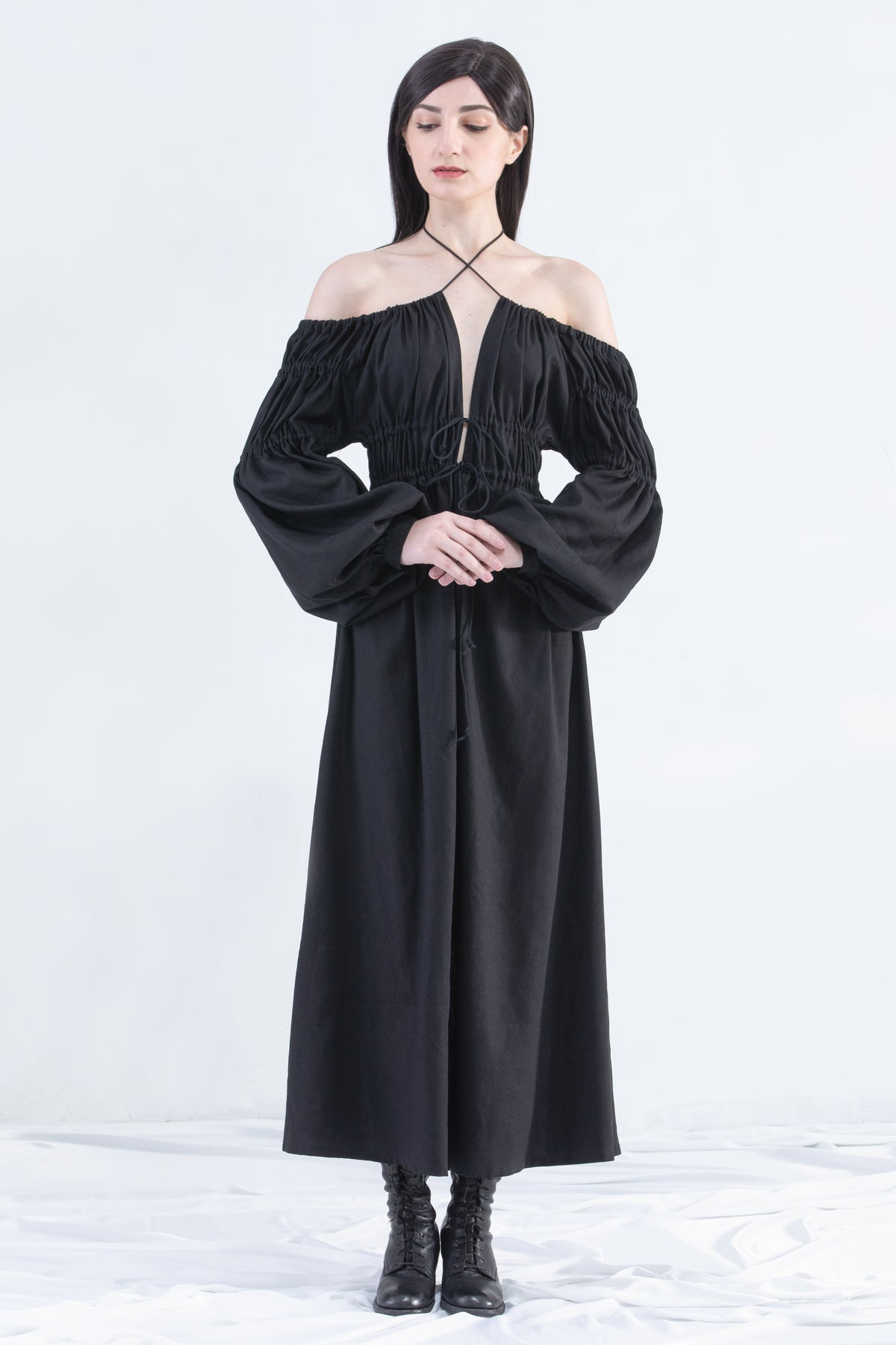 Image of Lucia Long Dress With Bell Cuff Sleeve