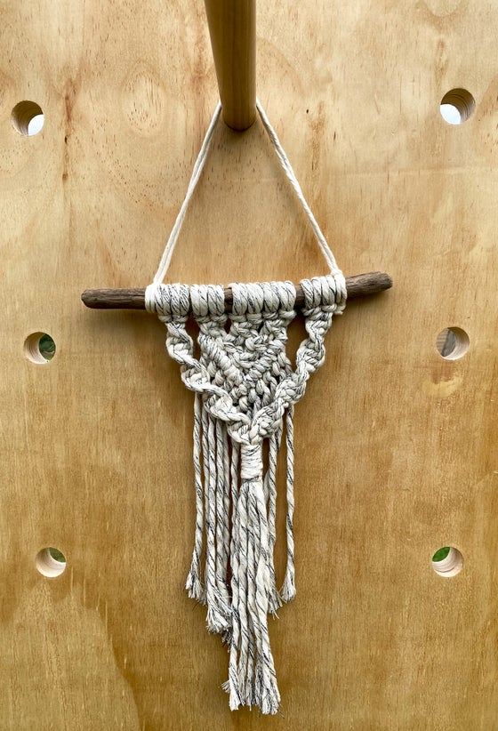 Image of Small Black and White Macrame Wall Hanging