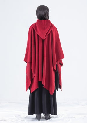Image of Shawl Hooded Wrap Cape in Ruby
