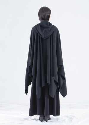 Image of Shawl Hooded Wrap Cape in Black