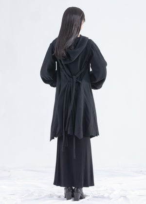 Image of Amber Hooded Wool  Coat With Balloon Sleeve