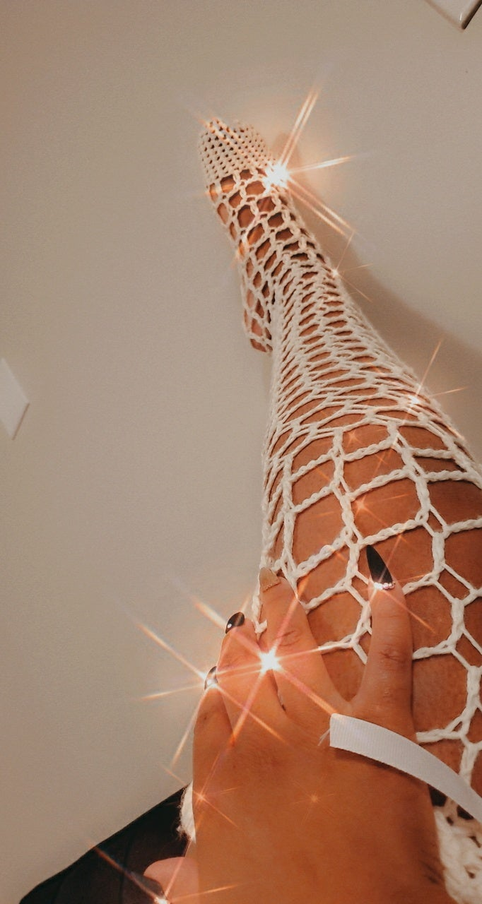 Image of Square Fishnet Thigh Highs