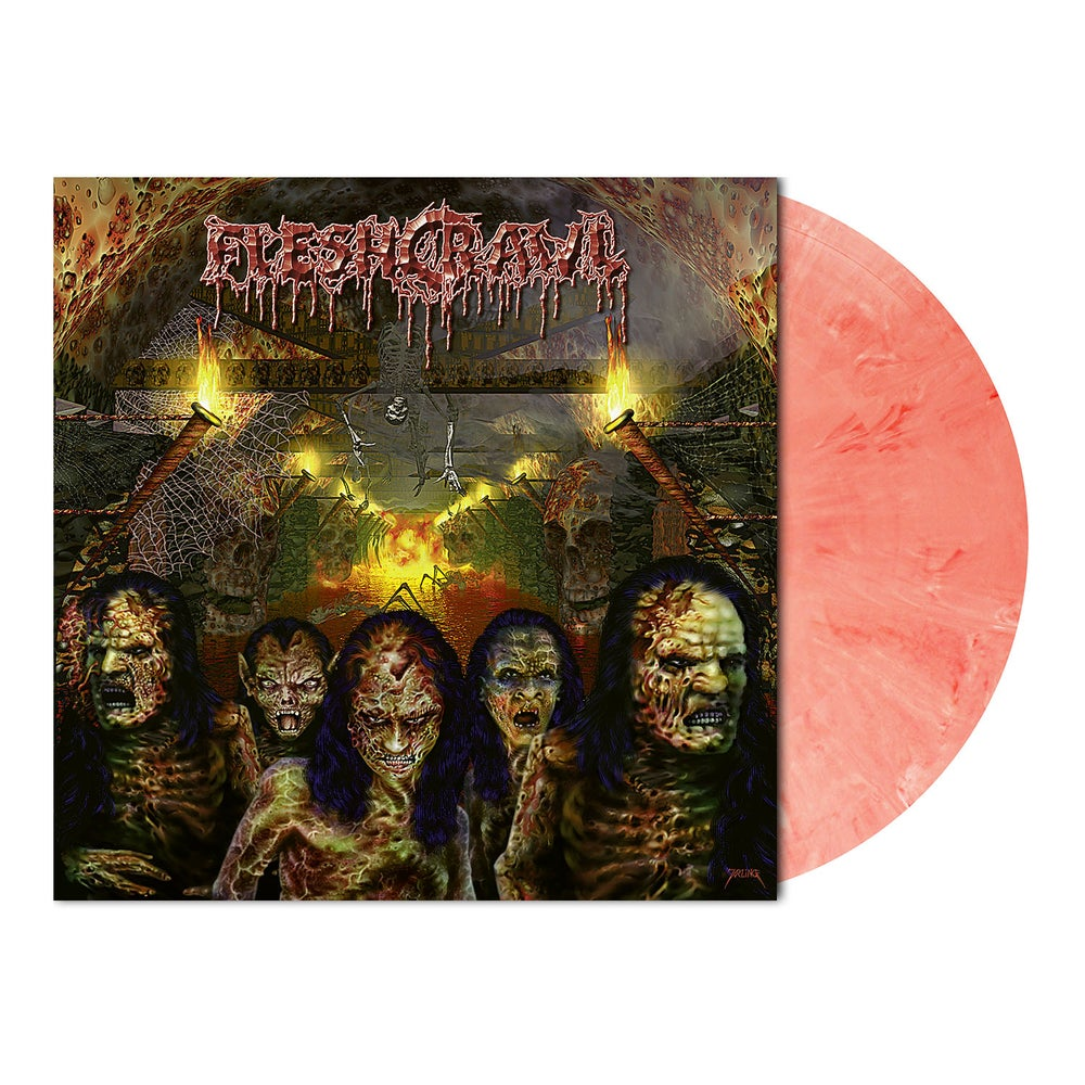 Image of Fleshcrawl • As Blood rains from the Sky (Red White Marbled Vinyl)