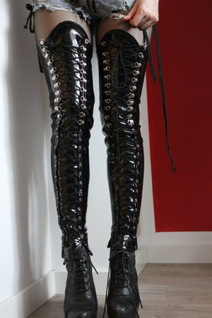 Image of BLACK PVC OVERKNEE LACEUP BOOT COVERS