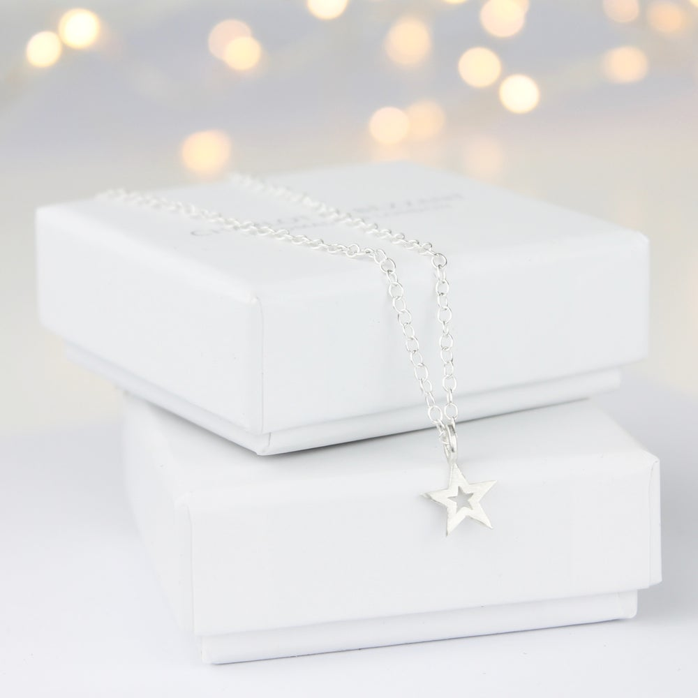 Image of Cut out silver star necklace