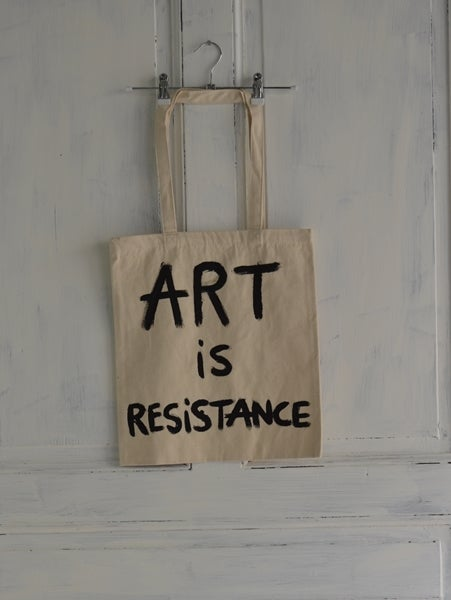 Image of ART IS RESISTANCE BY NACO-PARIS  SLOGAN CLASSIC TOTE BAG