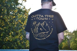 Image of Live Free, Head For The Hills T-shirt Black