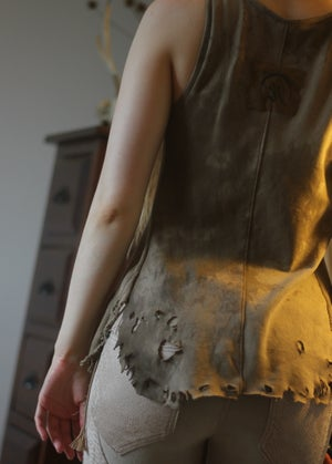 Image of KULTCHEN STUDDED DISTRESSED BUTTON UP TANK