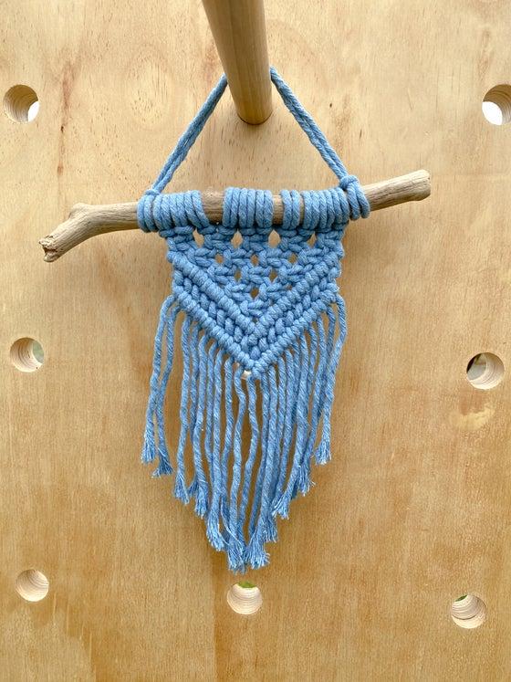 Image of Small Blue Macrame Wall Hanging with Natural Wood