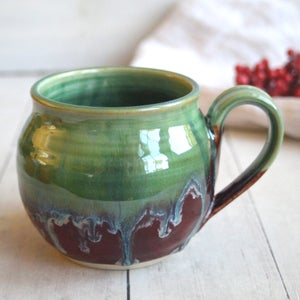 Image of Shimmering Green and Cherry Red Pottery Mug, Handcrafted Stoneware Made in USA 18 oz.