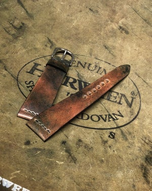 Image of Marble Black Unlined Shell Cordovan strap - Horween Shell Cordovan