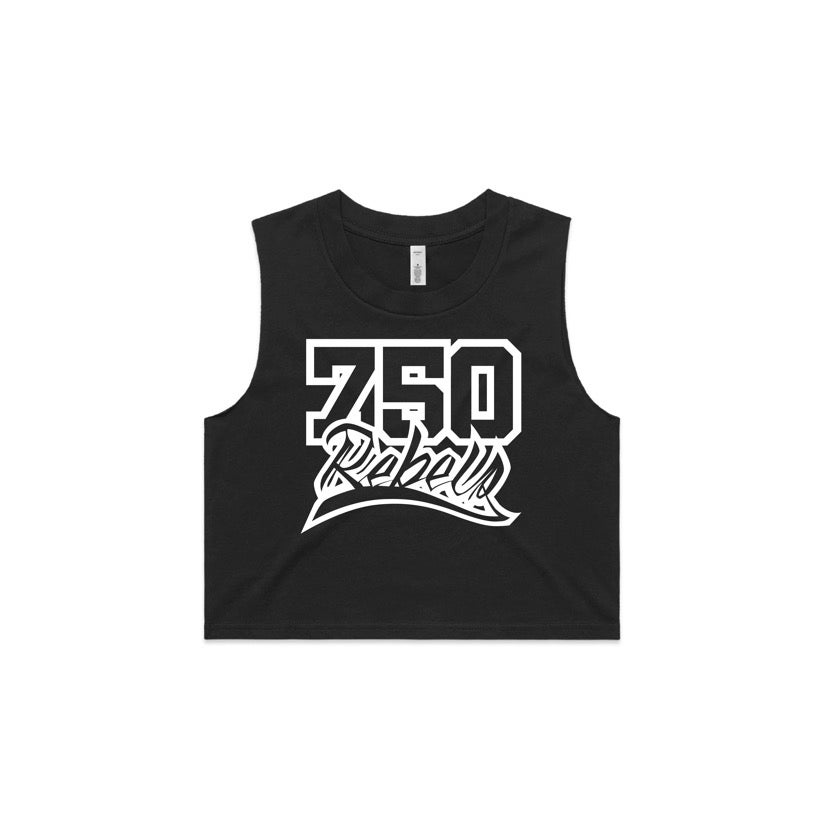 Image of 750 Rebels Black Womens Crop
