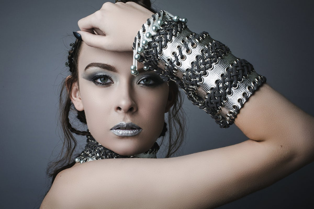 Image of Silver Cuff with pearl droplet beads