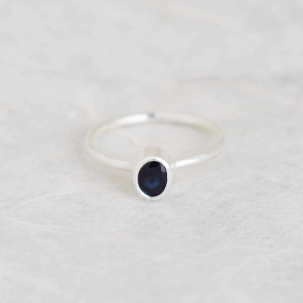 Image of Natural  Blue Sapphire oval cut silver ring