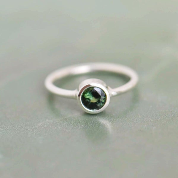 Image of Natural Tanzania Green Sapphire round cut silver ring