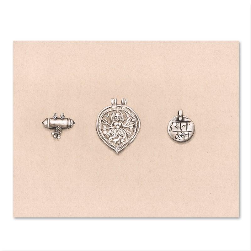 """Image of Original Drawing - """"Amulettes Banjara 1"""" - 28x35cm"""