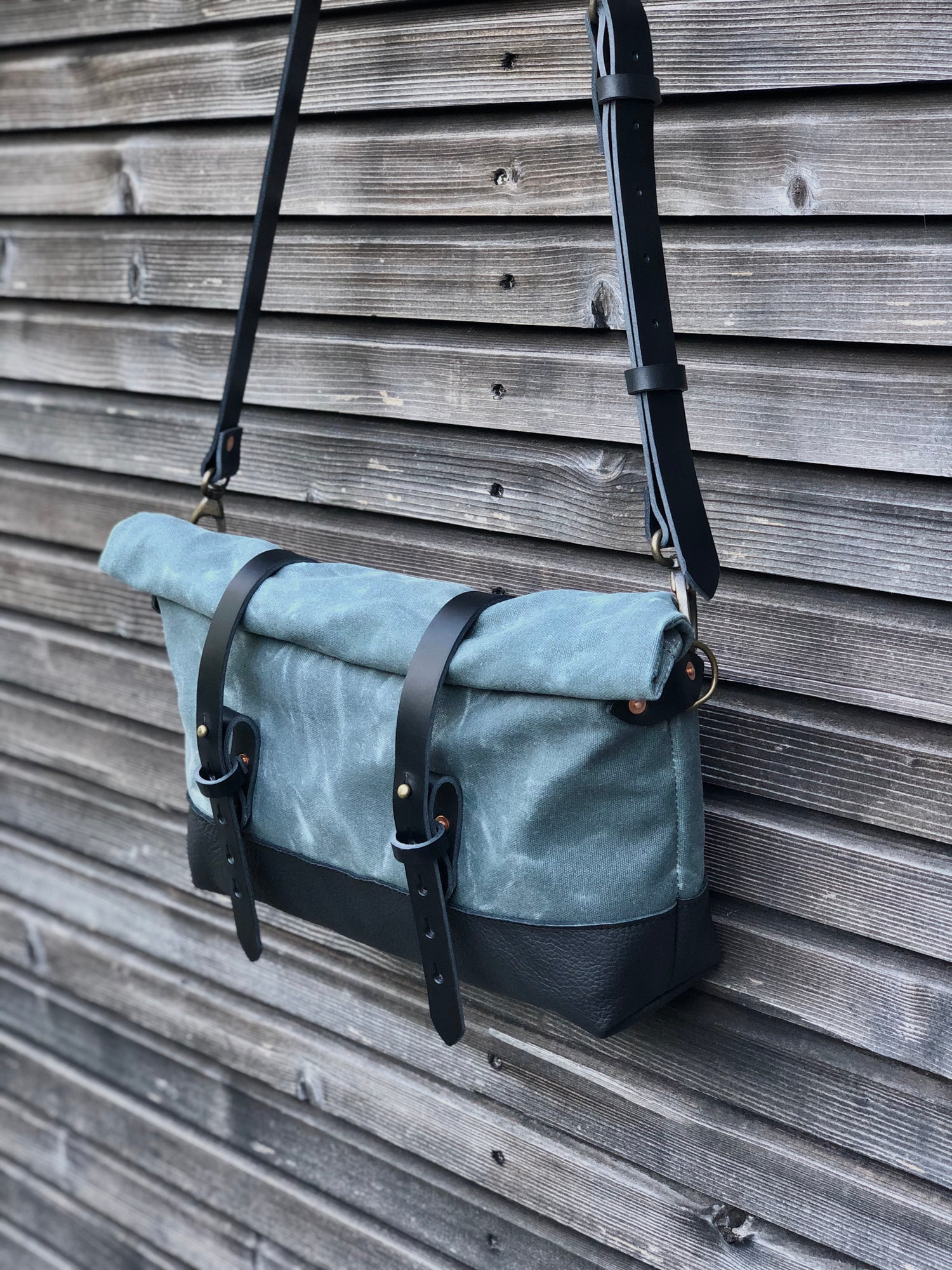 Image of Grey waxed canvas and leather satchel / messenger bag / canvas day bag