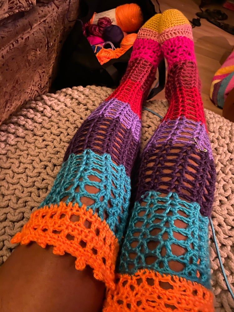 Image of Thigh High Crochet Socks Yellow Toe