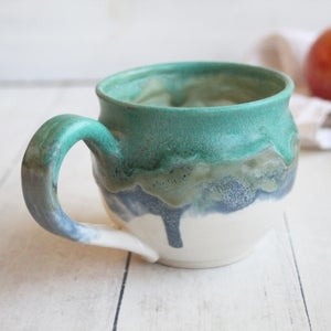 Image of Pottery Mug in Copper Green, Blue and White Matte Glazes, Handcrafted Coffee Cup 12 oz, Made in USA