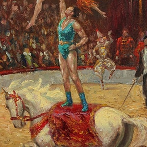 Image of 1940's, Oil Painting 'Circus,' ALLAN EGNELL (1884-1960)