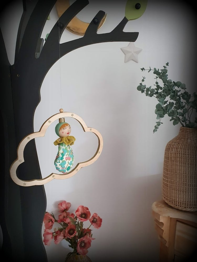Image of Mobile Nulucciu (petit nuage)Liberty Betsy bleu turquoise
