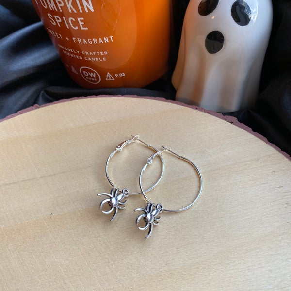 Image of Spider Hoop Earrings
