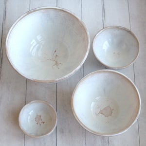 Image of Set of Four Rustic Mixing Bowls in Dripping White and Ocher Glaze Ready to Ship