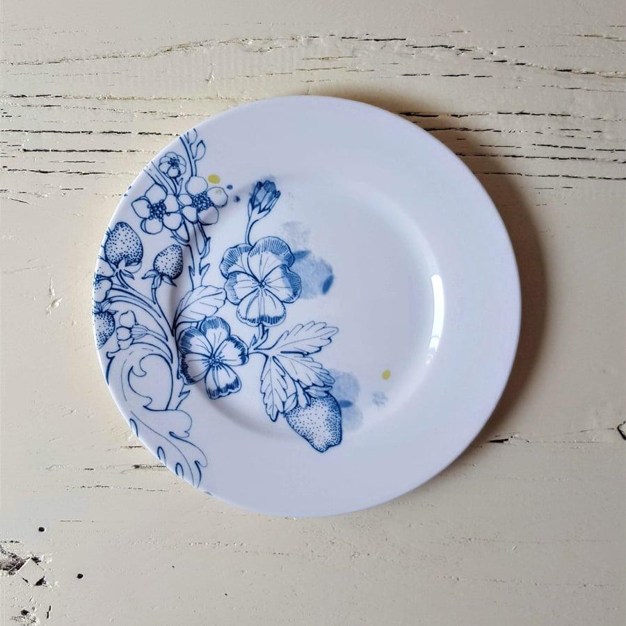 """Image of Blue Summer Dessert Plate """"A"""""""
