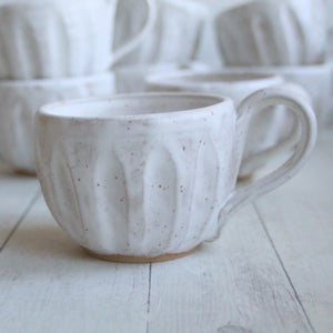 Image of Reserved for Suzanne - Set of 8 Custom Made, Rustic White Speckled Pottery Mugs, Made in USA