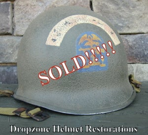 Image of WWII M-1 Helmet ESB (Engineer Special Brigade) D-Day Normandy NCO