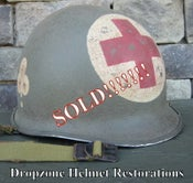Image of WWII M-1 Helmet 327th GIR Medic 2-Panel