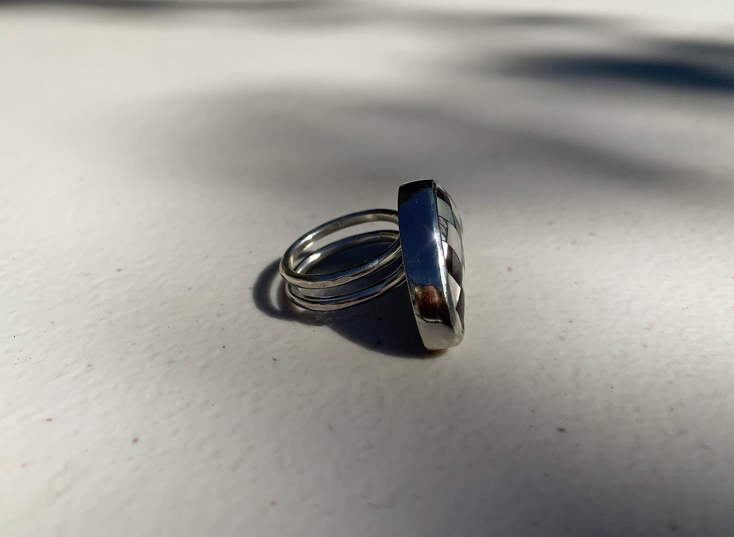 Image of Checkerboard  Crescent Moon Ring