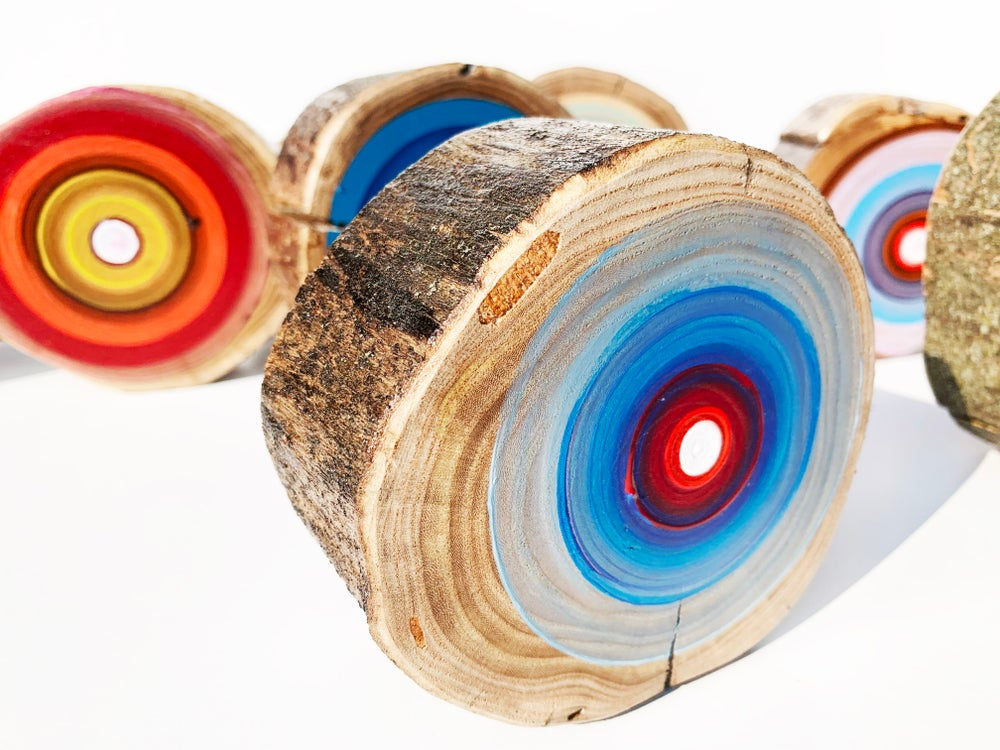 Image of Wood Wall art, Tree Rings, Colorful Paintings, 5th Anniversary, Paintings on Wood, Modern Art