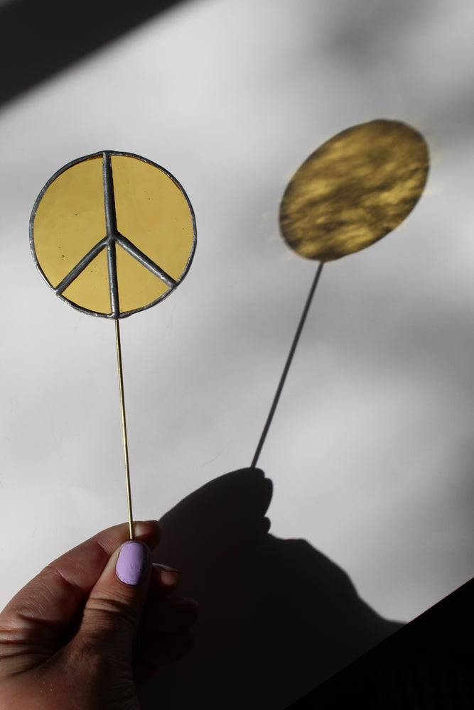Image of Yellow Peace Sign Planter Stake