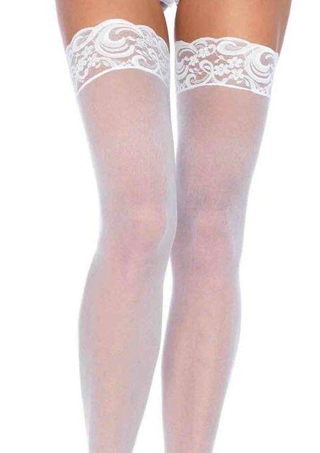 Image of #Sheer lace Top Thigh Highs Plus