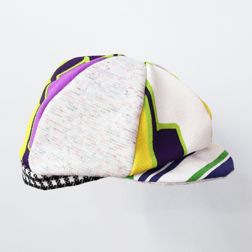 Image of bright groovy mod courtneycourtney child children's kids vintage fabric six panel newsie newsboy cap