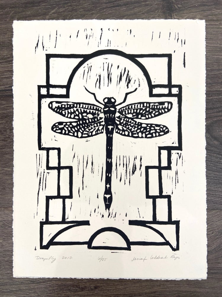 Image of Dragonfly Linocut Print